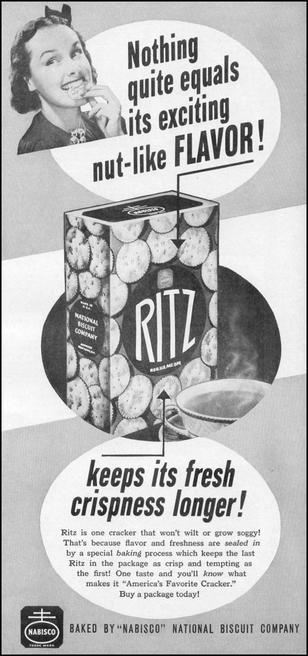 NABISCO RITZ CRACKERS WOMAN'S DAY 05/01/1941 p. 47