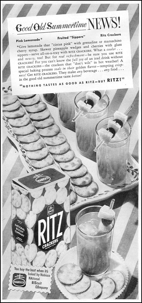 RITZ CRACKERS WOMAN'S DAY 08/01/1949 p. 55