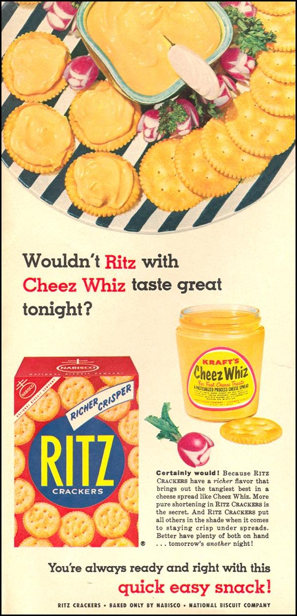 RITZ CRACKERS WOMAN'S DAY 09/01/1955 p. 22
