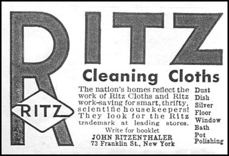 RITZ CLEANING CLOTHS GOOD HOUSEKEEPING 01/01/1932 p. 158