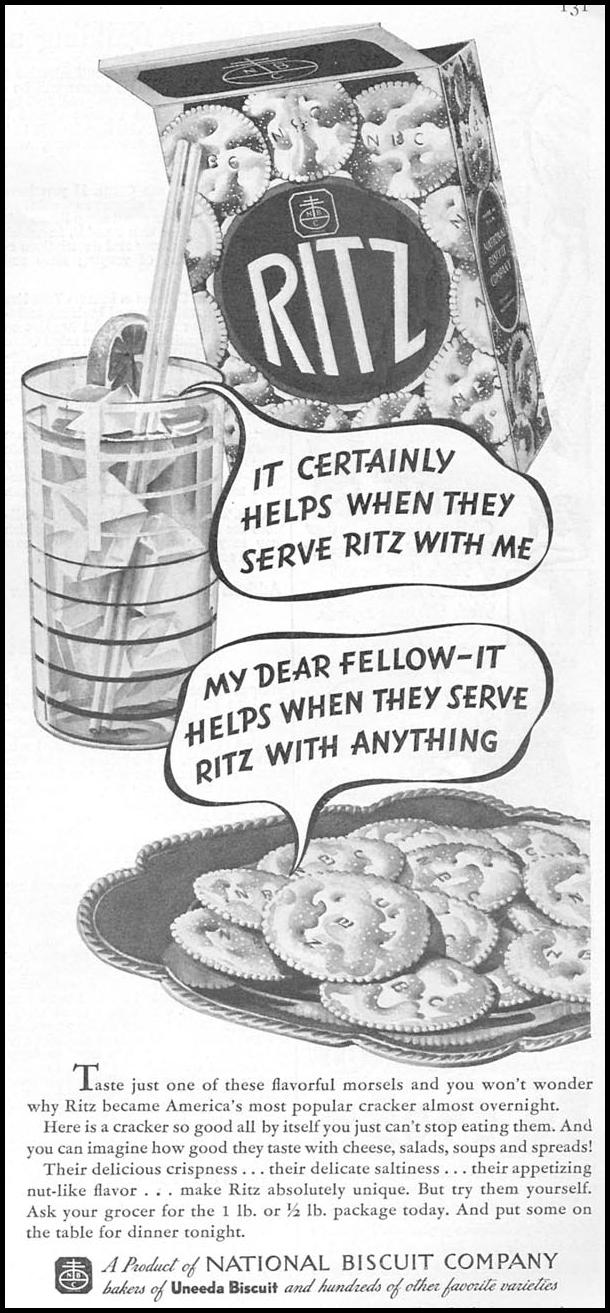 RITZ CRACKERS GOOD HOUSEKEEPING 04/01/1936 p. 131
