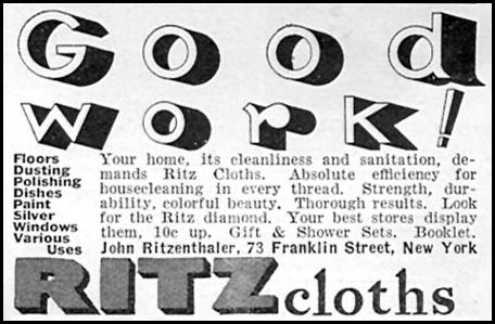 RITZ CLEANING CLOTHS GOOD HOUSEKEEPING 04/01/1936 p. 246