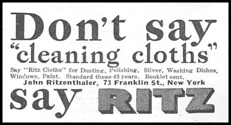 RITZ CLEANING CLOTHS GOOD HOUSEKEEPING 06/01/1935 p. 200