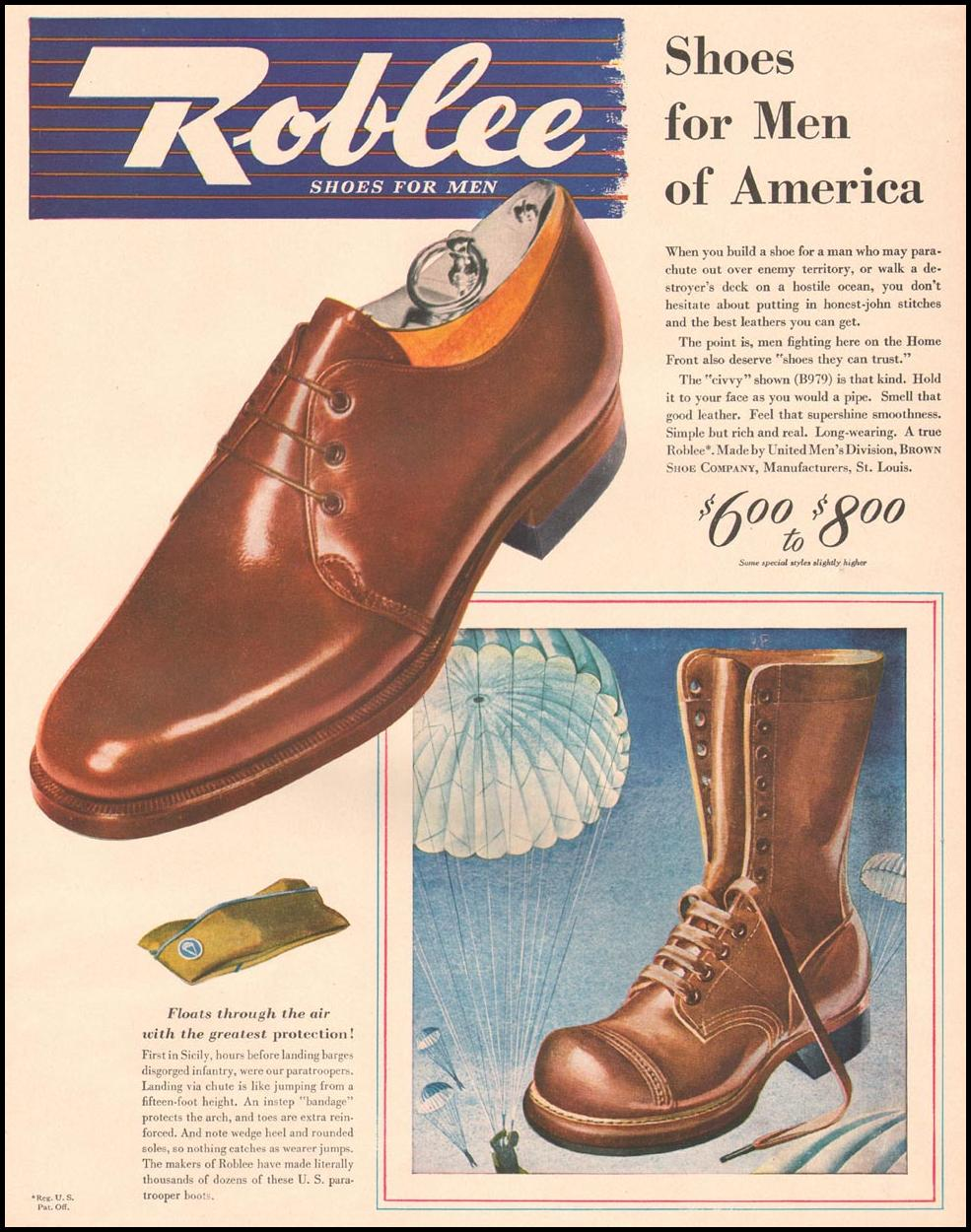 ROBLEE SHOES FOR MEN LIFE 10/11/1943 p. 69