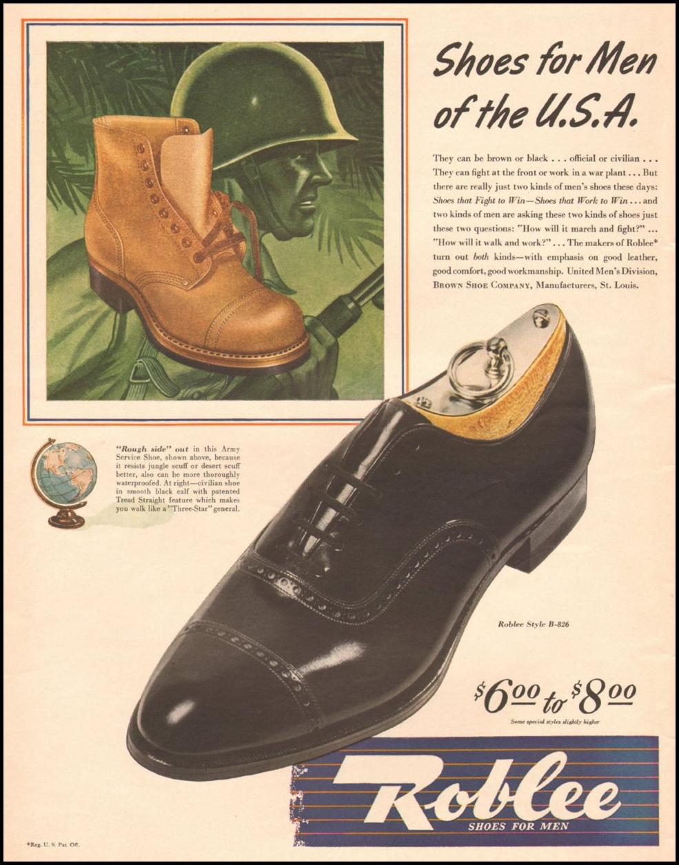 ROBLEE SHOES FOR MEN LIFE 10/25/1943 p. 16