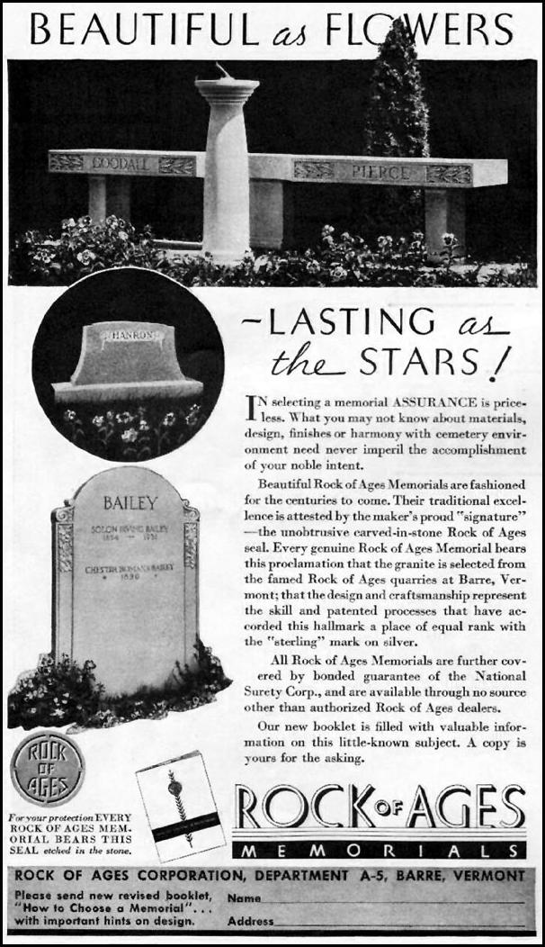 ROCK OF AGES MEMORIALS BETTER HOMES AND GARDENS 05/01/1936 p. 66