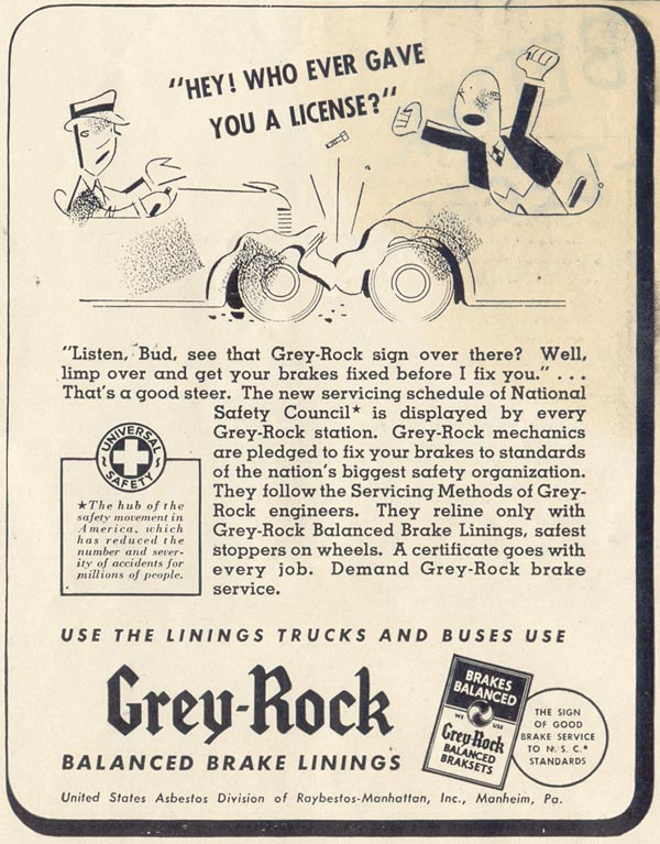 GREY-ROCK BRAKE LININGS LIFE 06/23/1941 p. 83