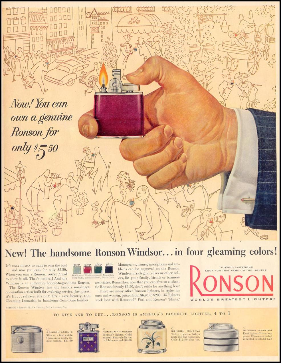 RONSON WINDSOR LIGHTERS LIFE 04/13/1953 p. 171