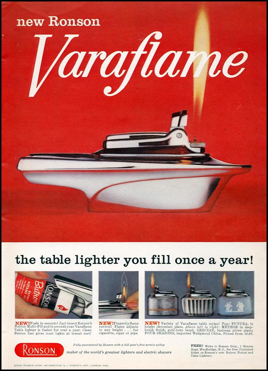 RONSON VARAFLAME TABLE LIGHTER SPORTS ILLUSTRATED 05/25/1959 p. 17