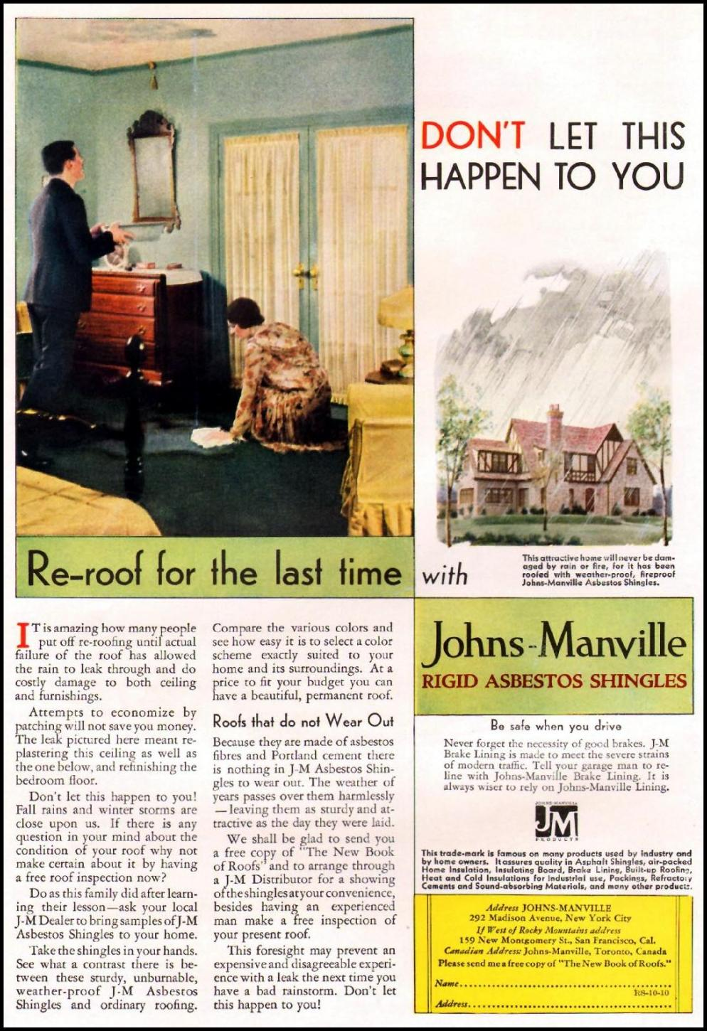 JOHNS-MANVILLE RIGID ASBESTOS SHINGLES BETTER HOMES AND GARDENS 10/01/1930 p. 48