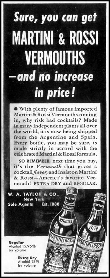 MARTINI & ROSSI VERMOUTH LIFE 06/23/1941 p. 44