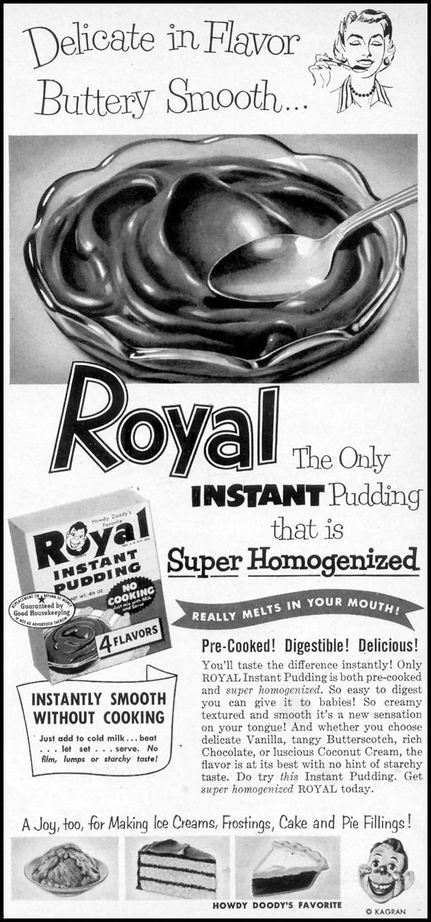 ROYAL PUDDING WOMAN'S DAY 10/01/1954 p. 161