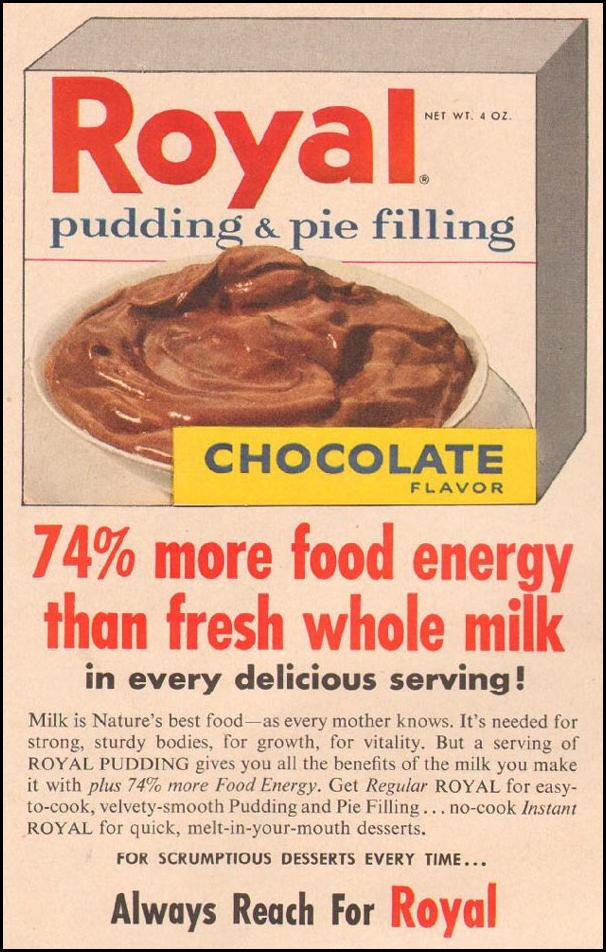 ROYAL PUDDING GOOD HOUSEKEEPING 05/01/1957 p. 140