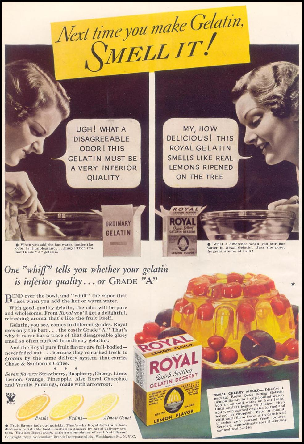 ROYAL GELATIN GOOD HOUSEKEEPING 11/01/1933