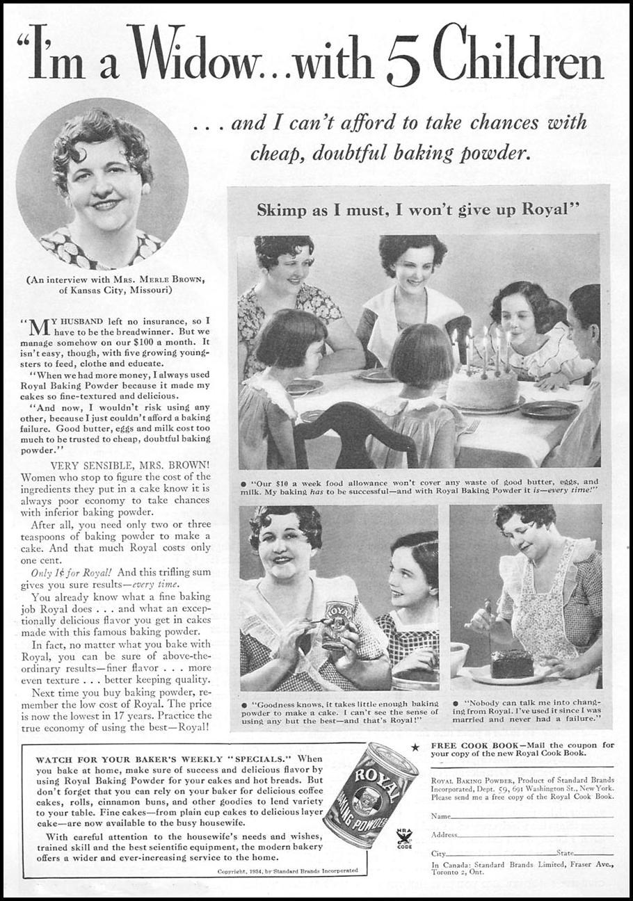 ROYAL BAKING POWDER GOOD HOUSEKEEPING 12/01/1934 p. 158