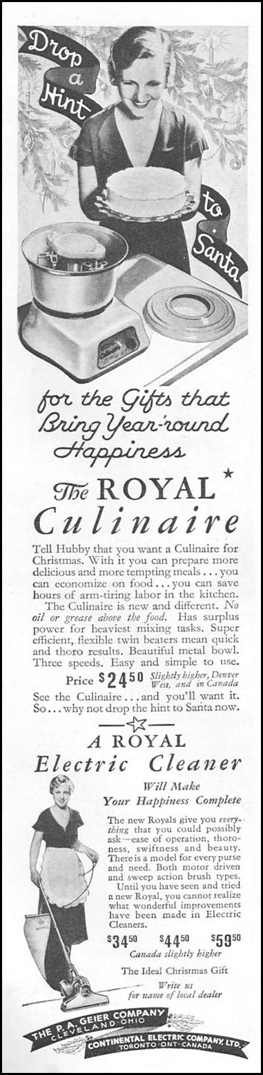 THE ROYAL CULINAIRE ELECTRIC MIXER GOOD HOUSEKEEPING 12/01/1934 p. 188