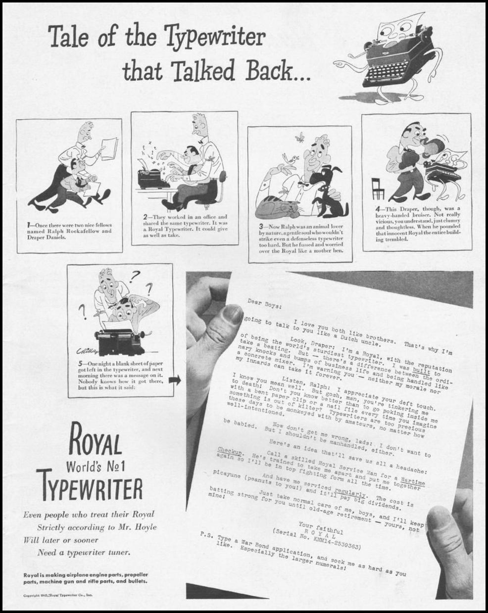 ROYAL TYPEWRITERS LIFE 10/25/1943 p. 3