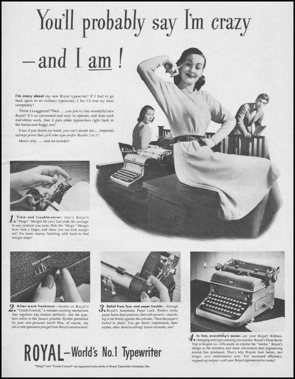 ROYAL TYPEWRITERS LIFE 11/25/1946 p. 5
