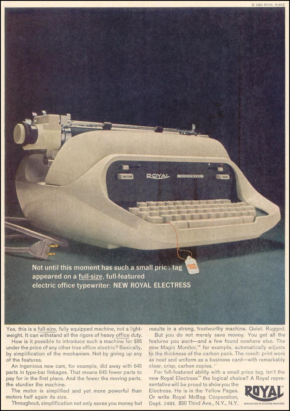 ROYAL ELECTRESS ELECTRIC TYPEWRITER TIME 02/01/1963 p. 54