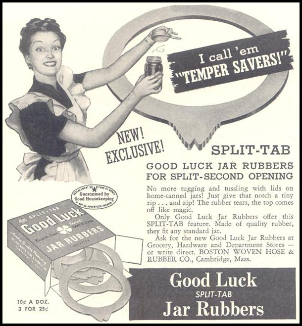GOOD LUCK JAR RUBBERS GOOD HOUSEKEEPING 07/01/1948 p. 235