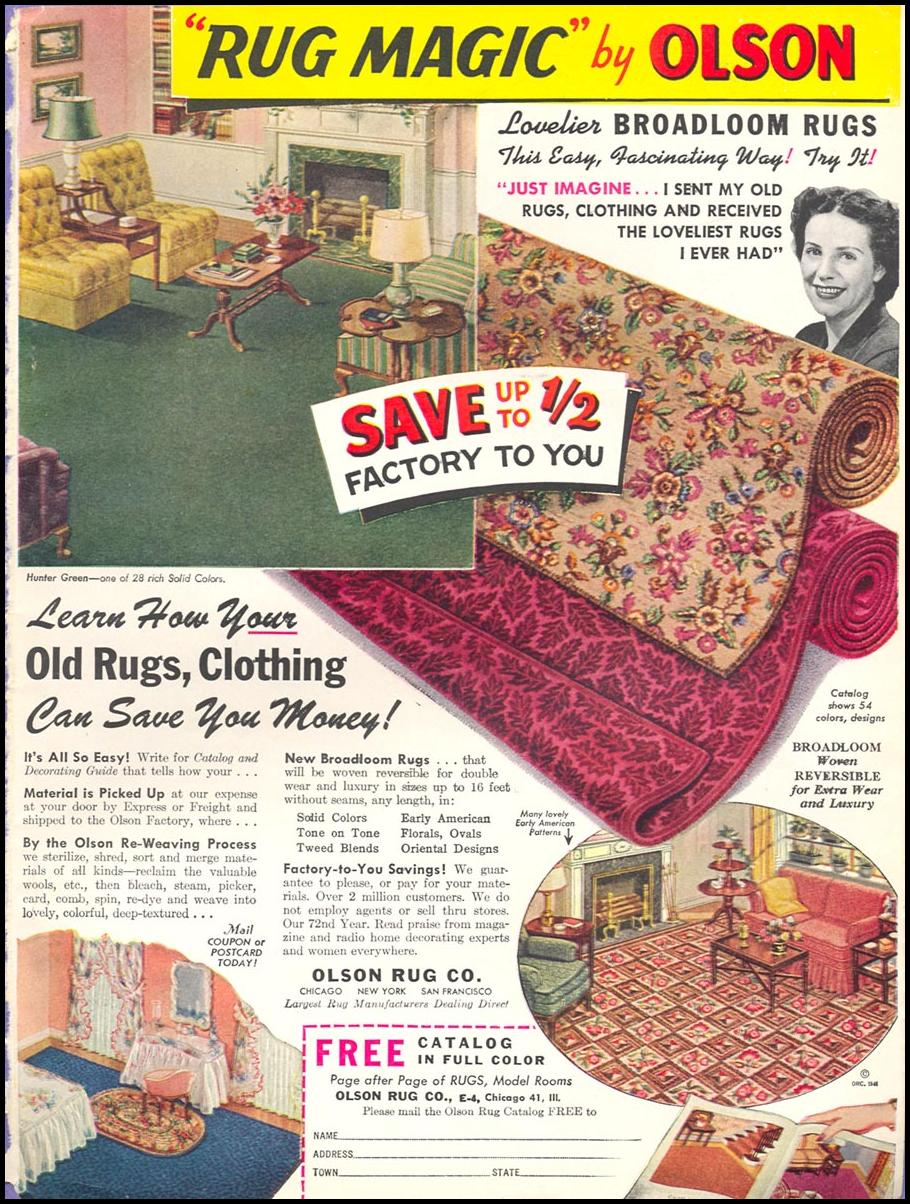 OLSON RUGS WOMAN'S DAY 02/01/1947 INSIDE BACK