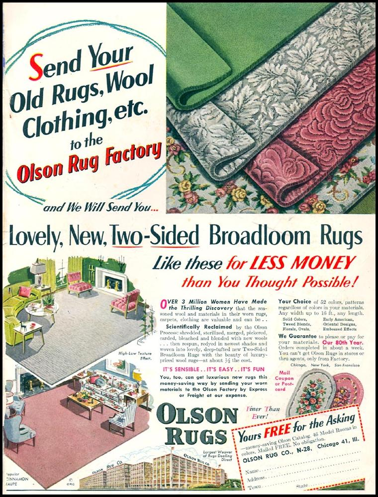 OLSON RUGS WOMAN'S DAY 02/01/1954 INSIDE BACK