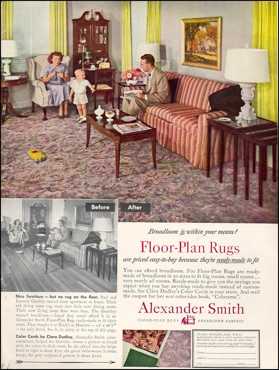 ALEXANDER SMITH FLOOR-PLAN RUGS WOMAN'S DAY 11/01/1949 INSIDE BACK