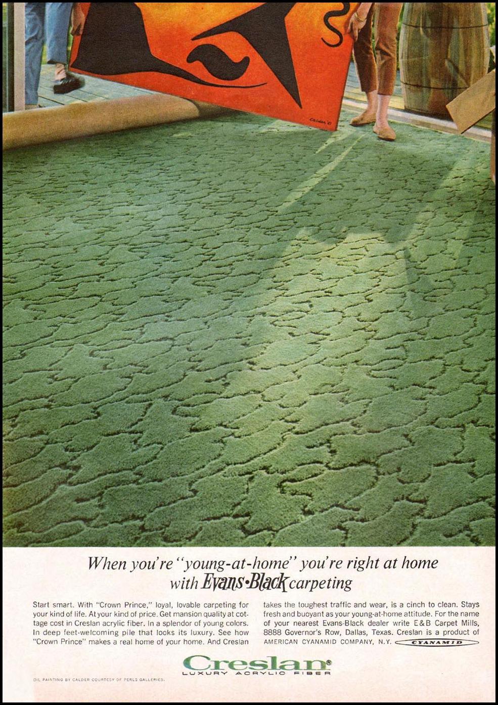 EVANS-BLACK CRESLAN HOME CARPET GOOD HOUSEKEEPING 10/01/1965 p. 242