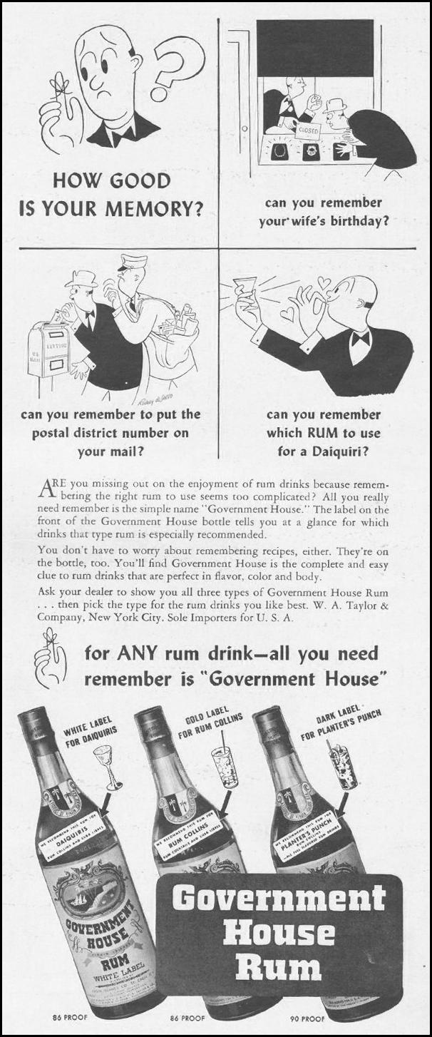 GOVERNMENT HOUSE RUM LIFE 10/25/1943 p. 113