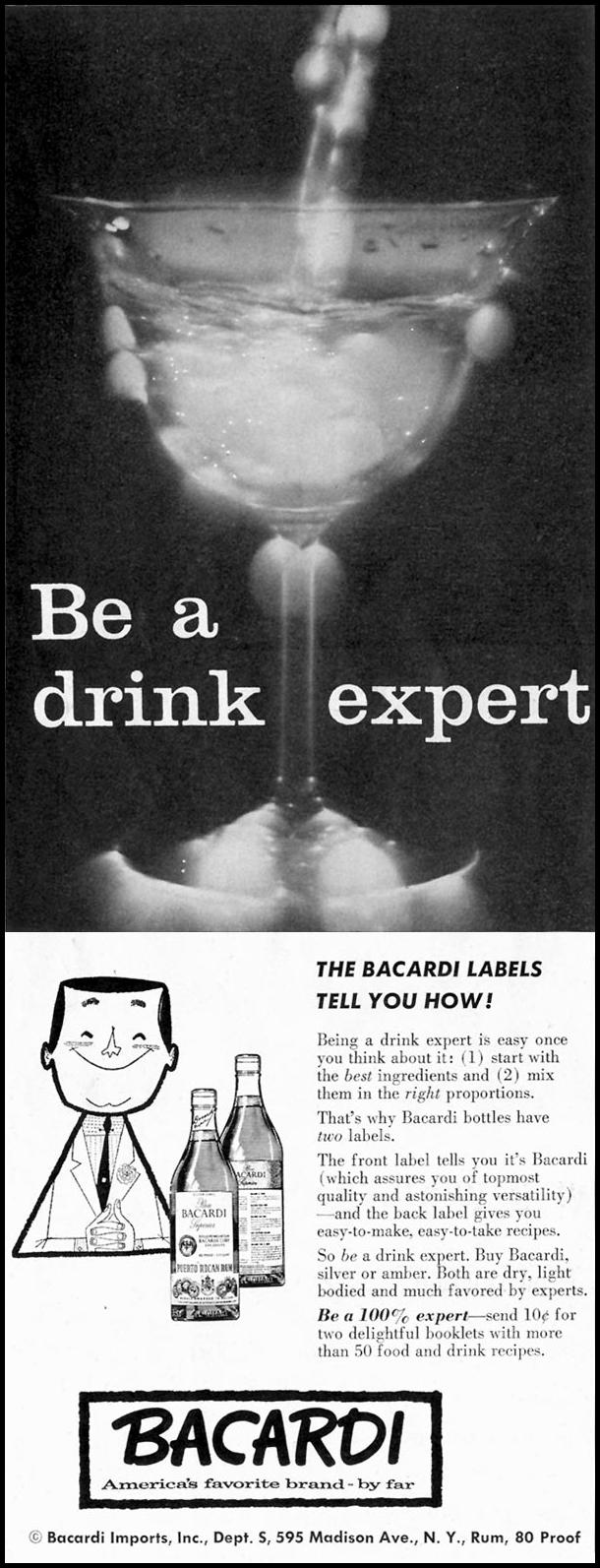 BACARDI RUM SATURDAY EVENING POST 08/15/1959 p. 52