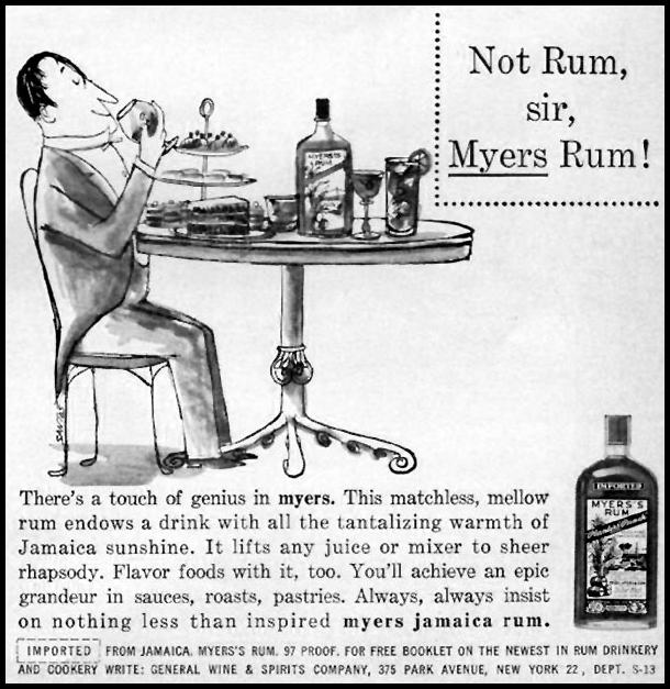 MYERS'S RUM SPORTS ILLUSTRATED 05/11/1959 p. 71