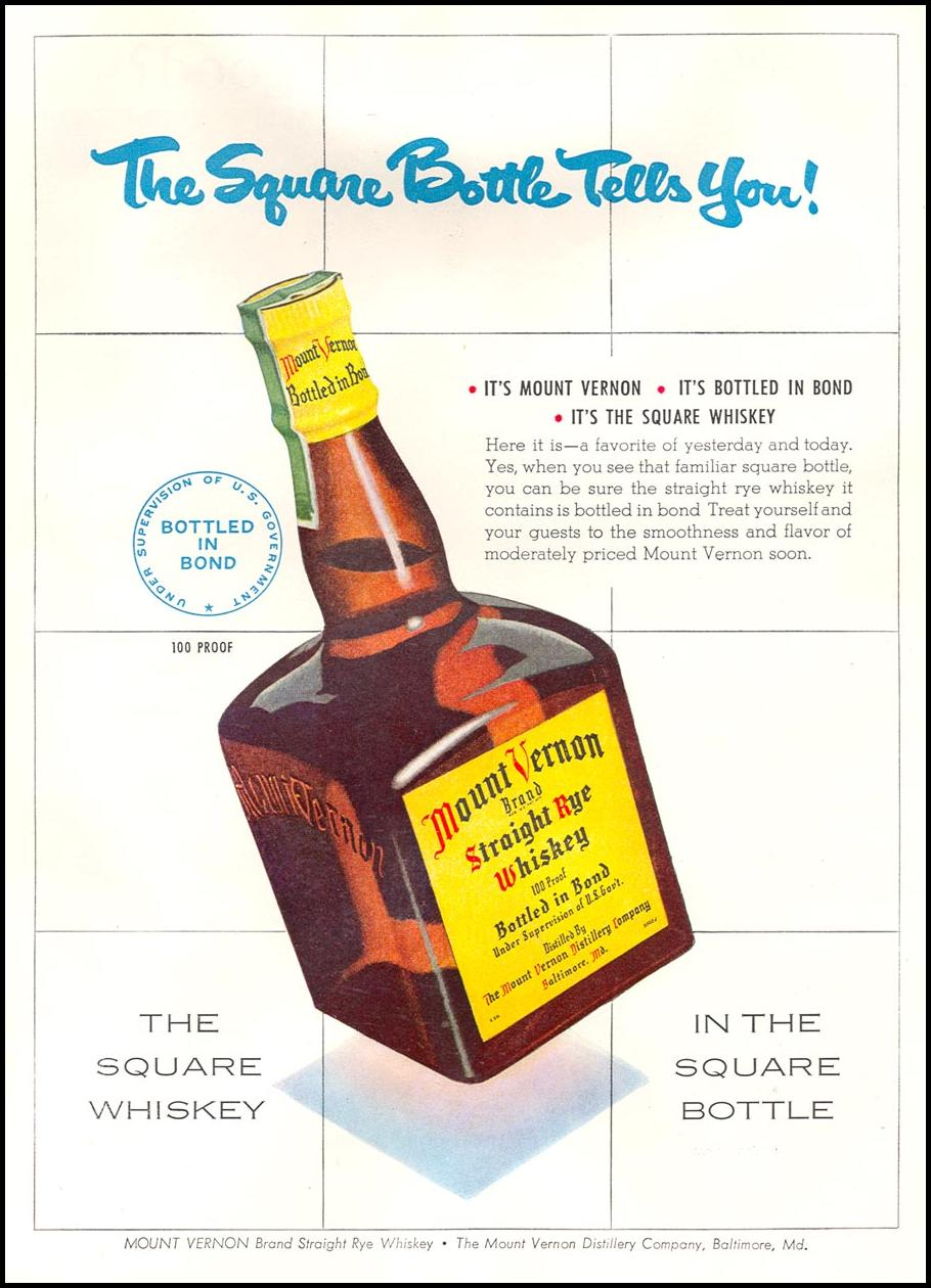 MOUNT VERNON STRAIGHT RYE WHISKEY NEWSWEEK 08/20/1951 p. 30