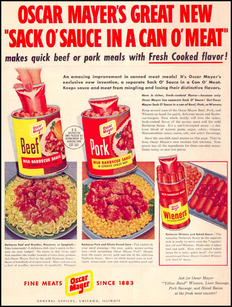 OSCAR MAYER CANNED MEAT WITH SAUCE LIFE 04/17/1950 p. 156