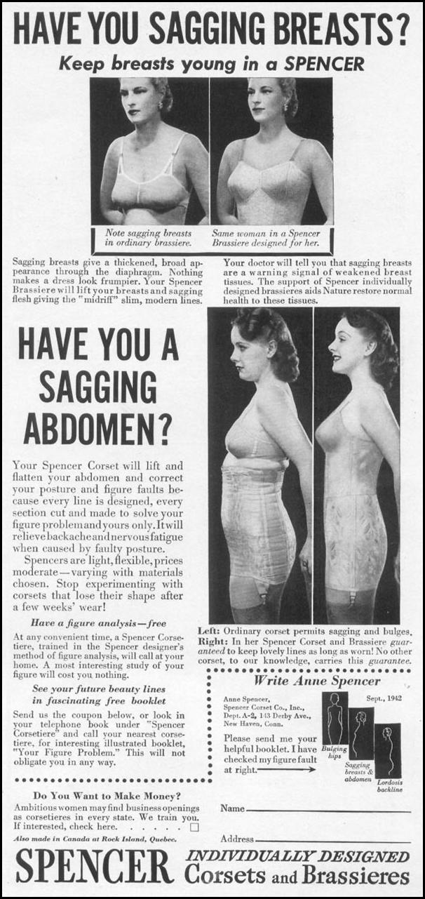 SPENCER CORSETS AND BRASSIERES WOMAN'S DAY 09/01/1942 p. 45