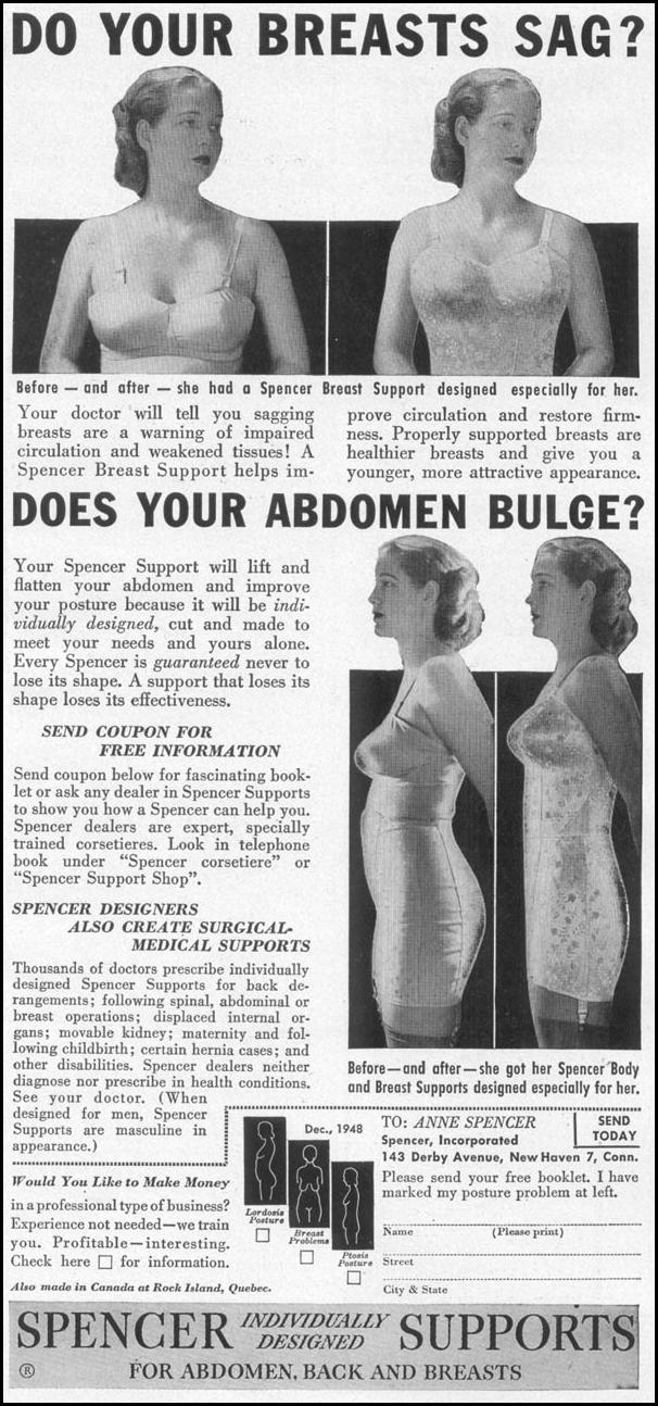 SPENCER SUPPORTS FOR ABDOMEN, BACK AND BREASTS WOMAN'S DAY 12/01/1948 p. 93