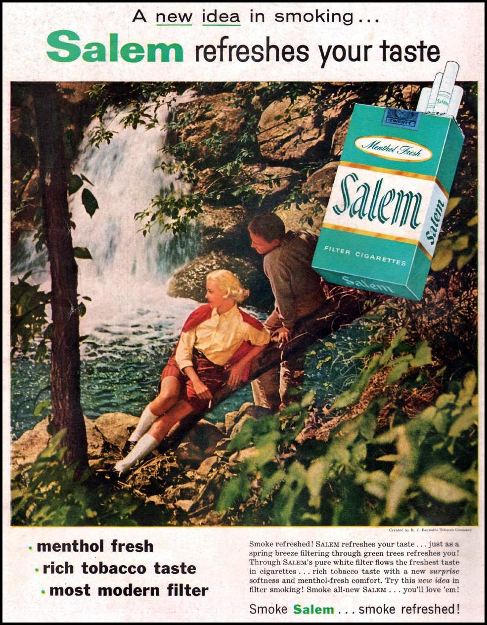 SALEM CIGARETTES LIFE 07/01/1957 BACK COVER