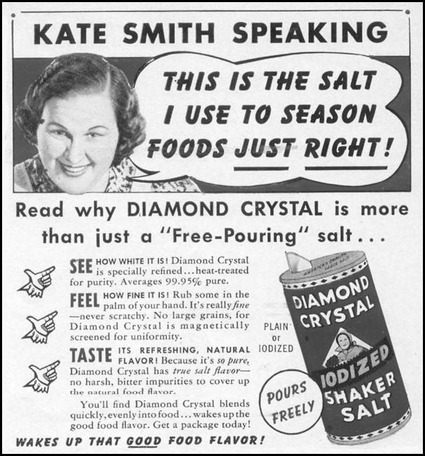 DIAMOND CRYSTAL IODIZED SHAKER SALT WOMAN'S DAY 04/01/1941 p. 73