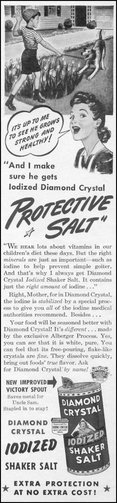 DIAMOND CRYSTAL IODIZED SHAKER SALT WOMAN'S DAY 05/01/1943 p. 16