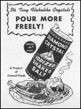 DIAMOND CRYSTAL IODIZED SHAKER SALT WOMAN'S DAY 05/01/1947 p. 111