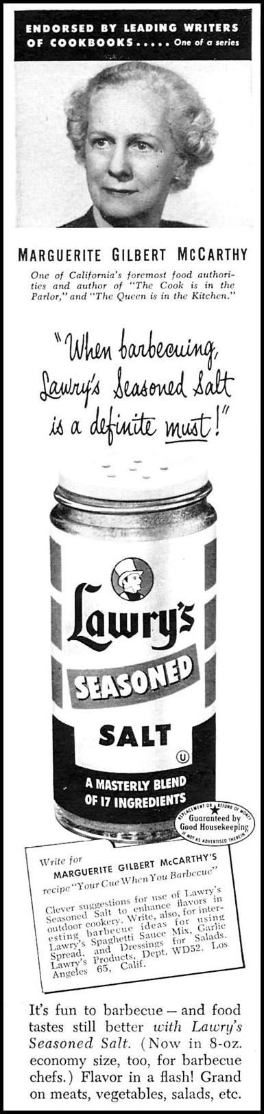 LAWRY'S SEASONED SALT WOMAN'S DAY 06/01/1958 p. 10