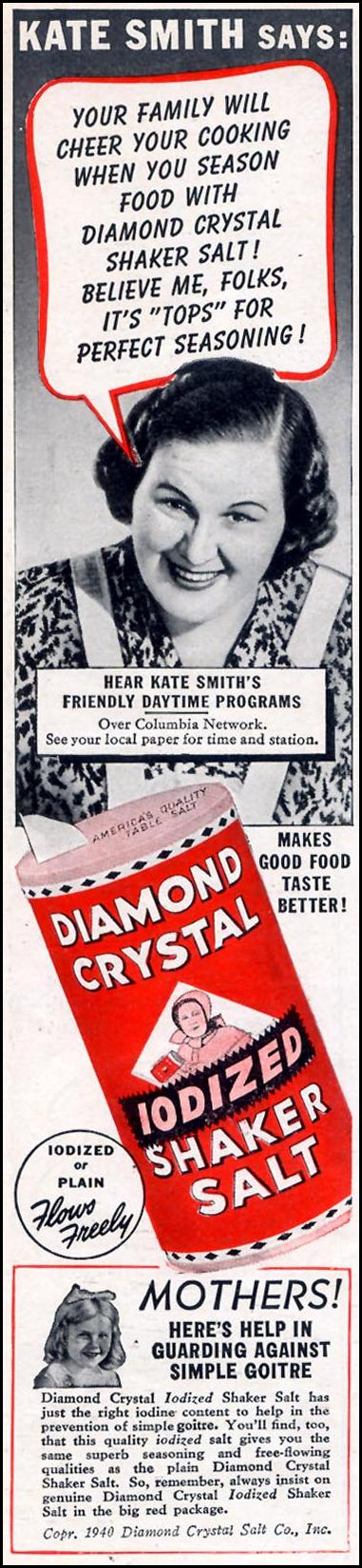 DIAMOND CRYSTAL IODIZED SHAKER SALT WOMAN'S DAY 09/01/1940 p. 8