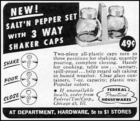 SALT 'N PEPPER SET WOMAN'S DAY 09/01/1949 p. 119