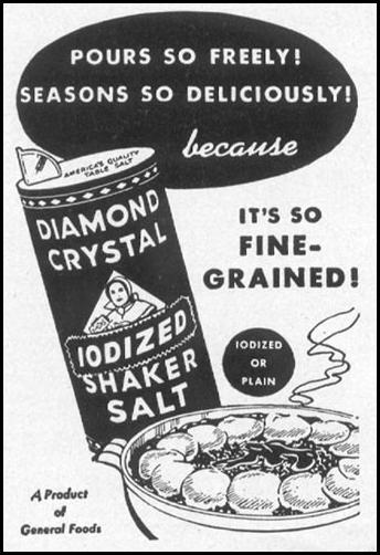DIAMOND CRYSTAL IODIZED SHAKER SALT WOMAN'S DAY 12/01/1948 p. 116