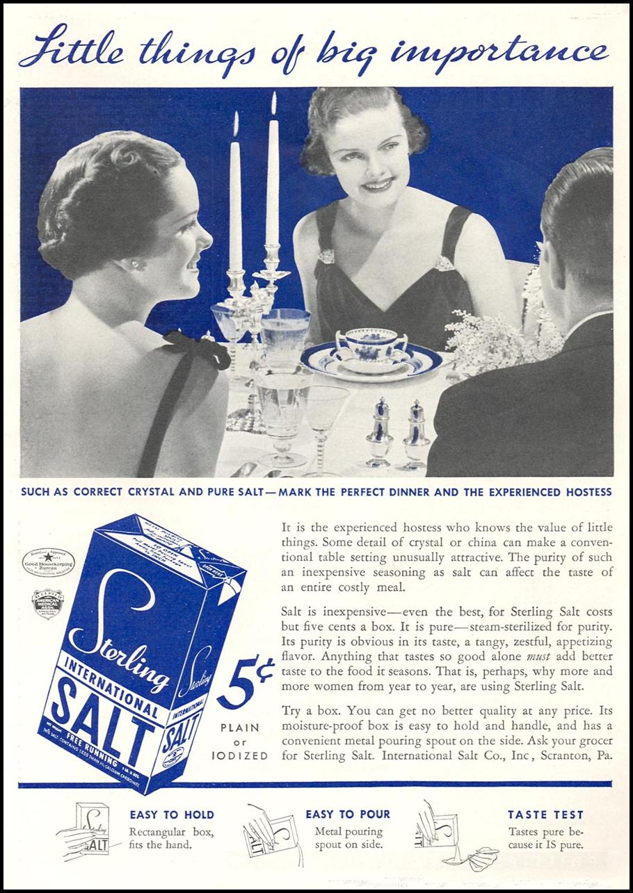 STERLING TABLE SALT GOOD HOUSEKEEPING 04/01/1936 p. 145