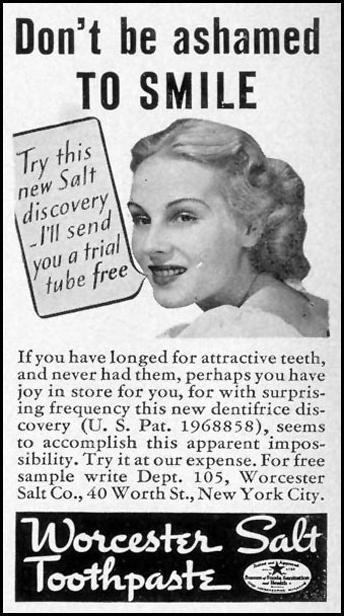 WORCESTER SALT TOOTHPASTE LIFE 07/26/1937 p. 88