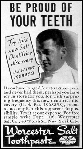 WORCESTER SALT TOOTHPASTE LIFE 08/09/1937 p. 92
