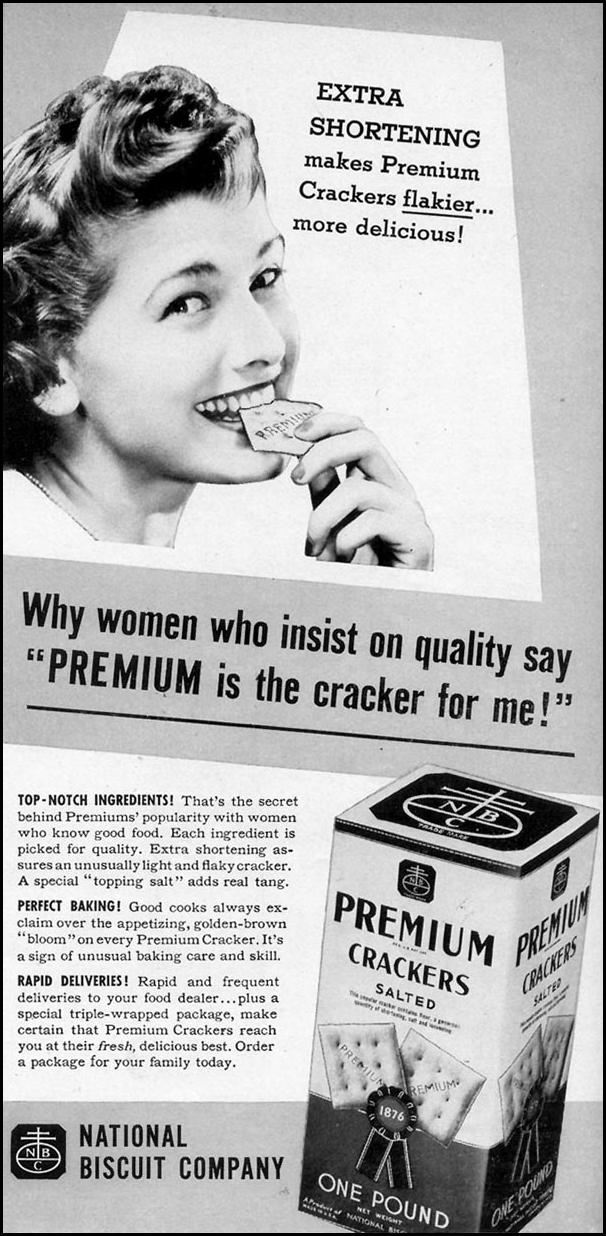 PREMIUM SALTINE CRACKERS WOMAN'S DAY 10/01/1940 p. 41