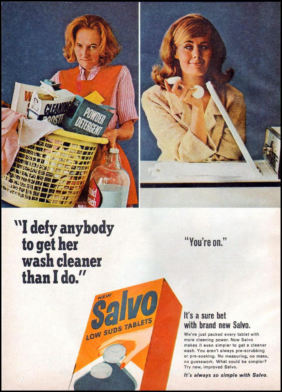 SALVO LOW SUDS DETERGENT TABLETS GOOD HOUSEKEEPING 10/01/1965 p. 166