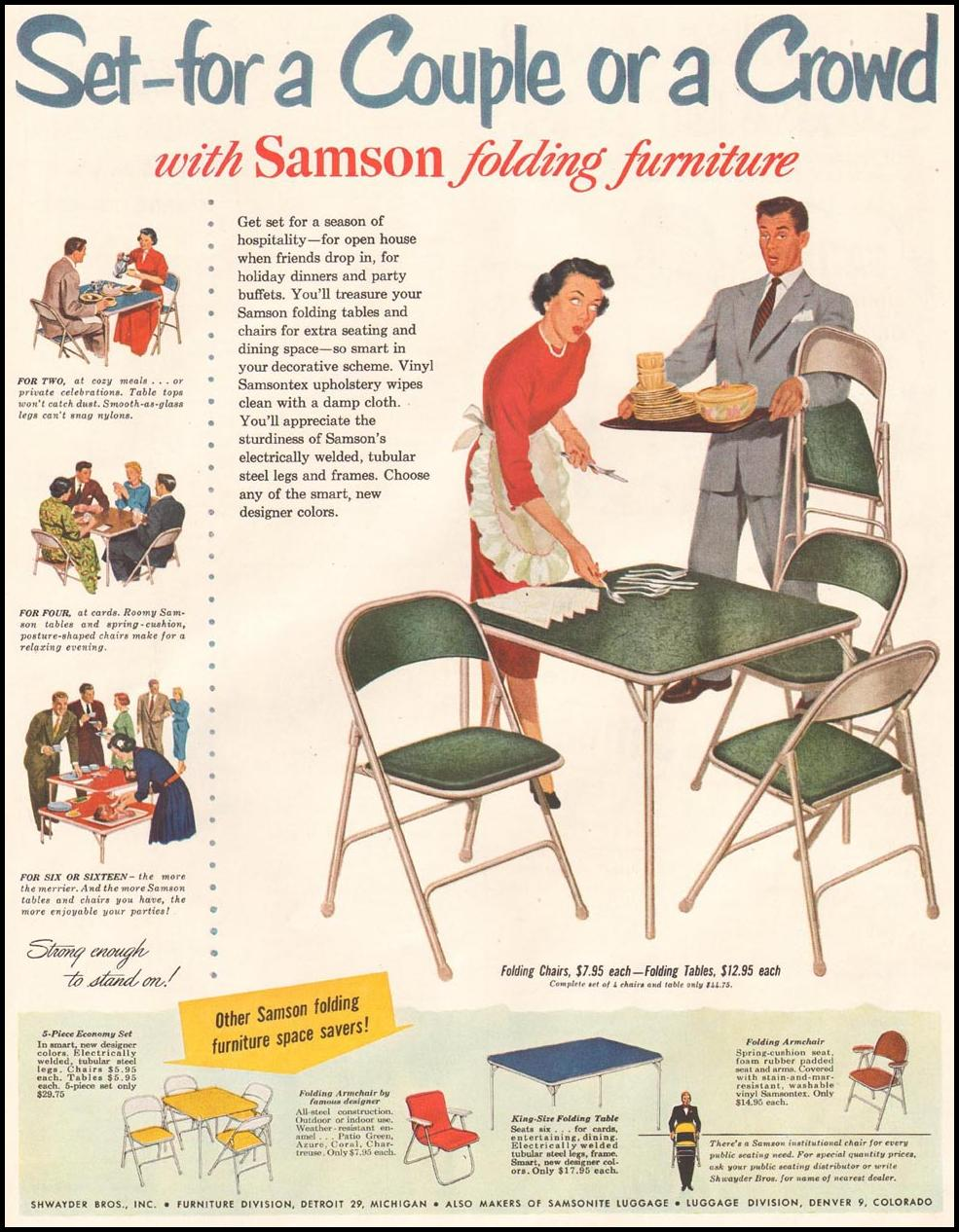 SAMSON FOLDING FURNITURE LADIES' HOME JOURNAL 11/01/1950 p. 17