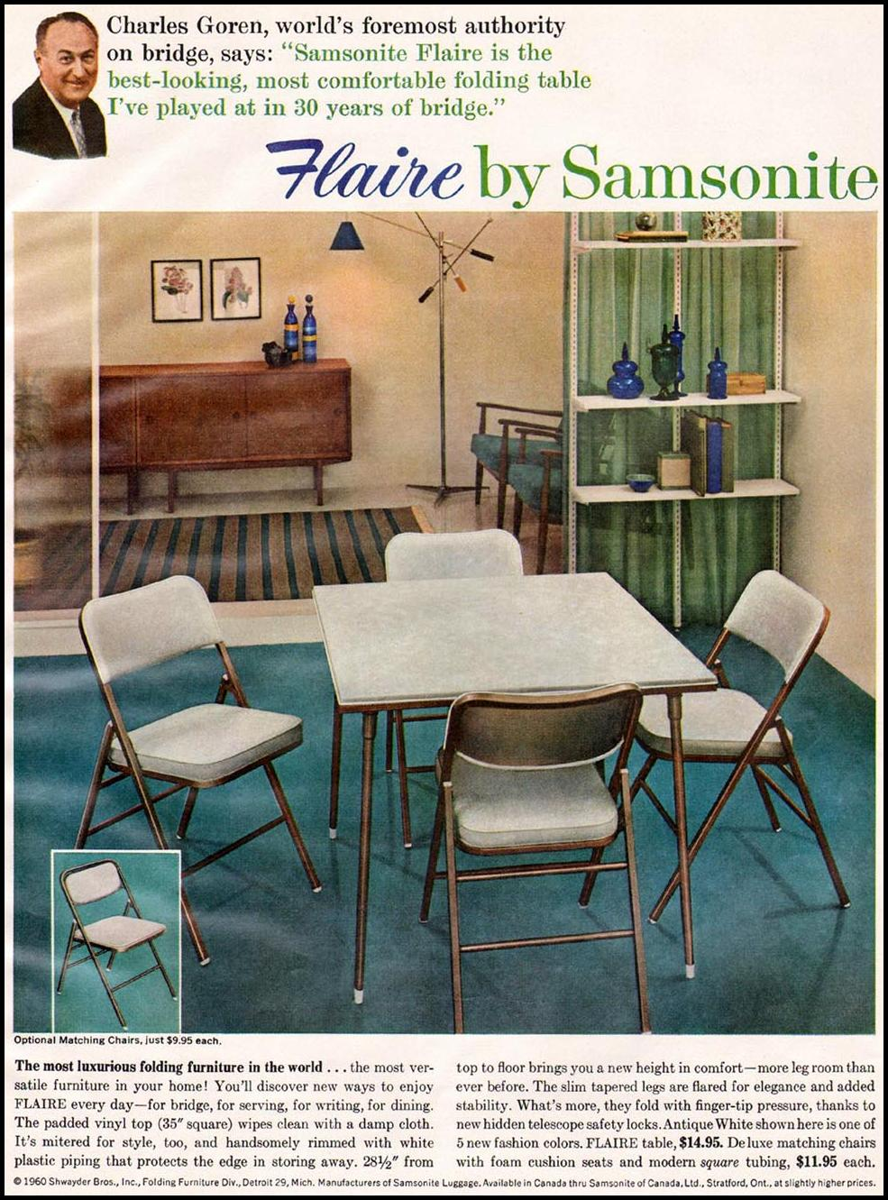 SAMSONITE FLAIRE FOLDING FURNITURE BETTER HOMES AND GARDENS 03/01/1960 p. 143